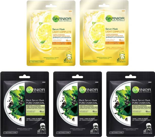GARNIER Skin Naturals Face Serum Sheet Mask Pack of 5 (3 Charcoal + 2 Light Complete)