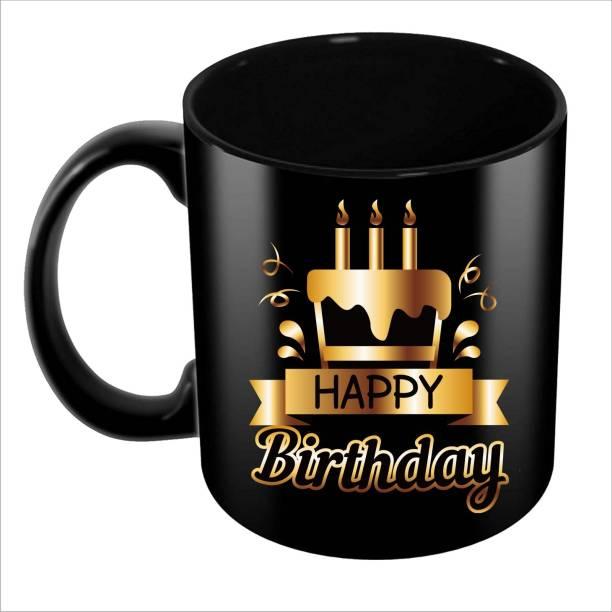 Aditi Designs Happy Birthday gift for anyone on Solid Black Ceramic Coffee Mug