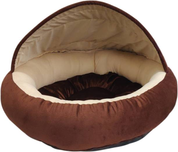 Dogerman Velvet Fabric Dual Color Cave Shape Bed For Small Dogs & Cats S Pet Bed