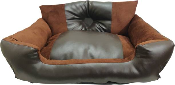 Dogerman Leather Velvet Fabric Sofa Style Bed for Cats & Dogs XL Pet Bed