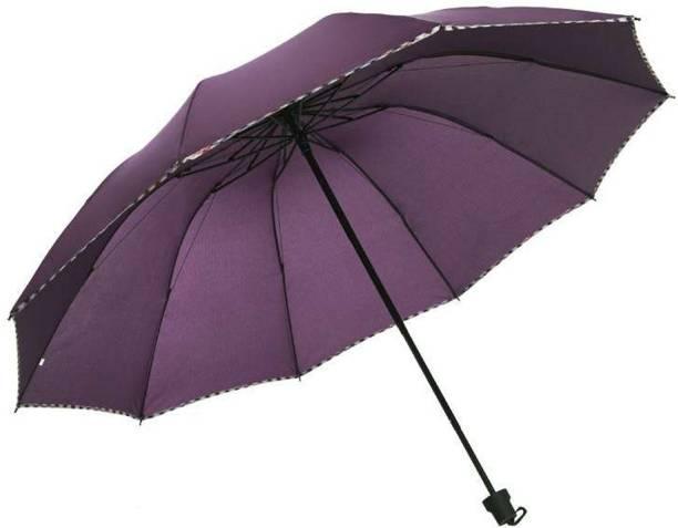KriShyam 3 Fold Plain Pipine Umbrella for Men & Women UV Protection Monsoon/Rainy & Sun Umbrella (Purple) Umbrella