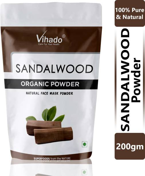 Vihado Natural Sandalwood Powder for Face pack, Face Masks and for Natural white Skin Care Product 200g (Pack of 1)