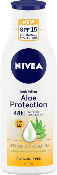 NIVEA Body Lotion, Aloe Protection SPF 15, for Men & Women