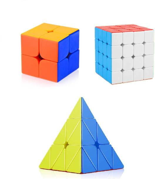 JAYNIL ENTERPRISE High Speed Stickerless 2x2x2 , 4x4x4 and Triangle Pyramid Puzzle Cube