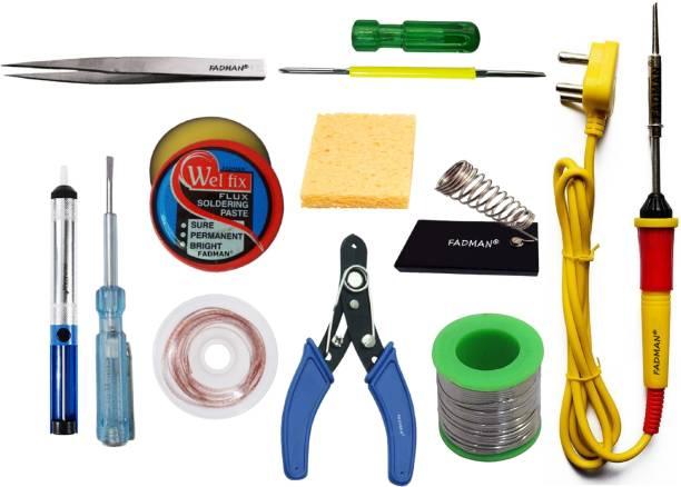 FADMAN Basic Bundle Electric 25W Soldering Iron Kit - Set of 11 PK-11 | Soldering Iron Stand | Solder Wire | Wire Cutter | Soldering Paste Flux | Desoldering Wick | Sponge | 2IN1 Screw Driver | Tweezer | Desoldering Pump | Tester | (Yellow+F+Red) Soldering Iron 25 W Simple