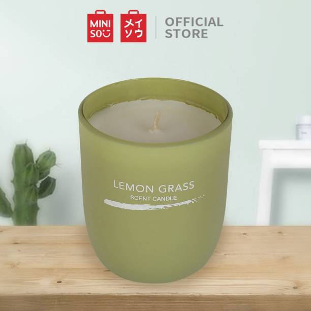 MINISO Inkjet Series Scented Candle Lemon Grass Green Flavor Bathroom Bedroom Decor Candle