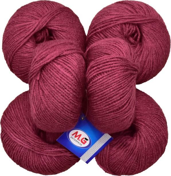 M.G Enterprise 100% Acrylic Wool Rosewood (6 pc) Baby Soft Wool Ball Hand Knitting Wool/Art Craft Soft Fingering Crochet Hook Yarn, Needle Knitting Yarn Thread Dyed