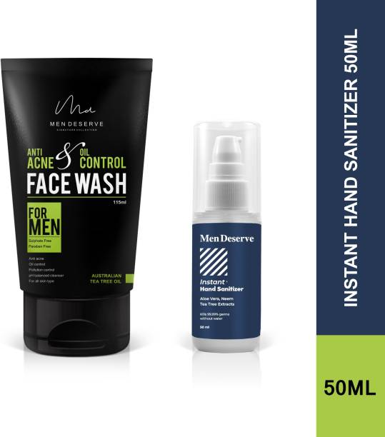 Men Deserve Anti Acne and Oil Control Face Wash and Instant Hand Sanitizer