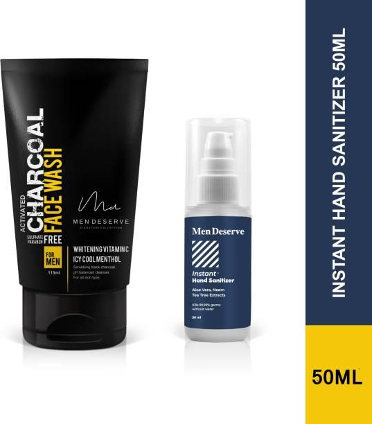 Men Deserve Refreshing Charcoal Face Wash and Instant Hand Sanitizer