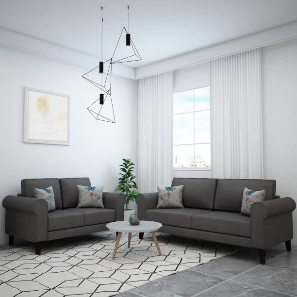 Flipkart Perfect Homes Juliet Fabric 3 + 2 Grey Sofa Set