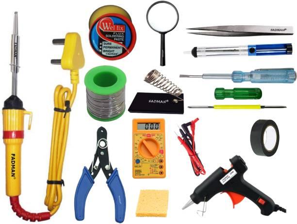 FADMAN BASIC COMPLETE KIT PART TYPE-14 SOLDERING IRON KIT | SOLDER WIRE | STAND | WIRE CUTTER | SOLDERING PASTE FLUX | TWEEZER | SPONGE | DESOLDERING PUMP | 2 IN 1 SCREW DRIVER | MAGNIFYING GLASS | HARDWARE TAPE | TESTER | DIGITAL MULTIMETER | 20W GLUE GUN | SOLDERING IRON 25 W Simple