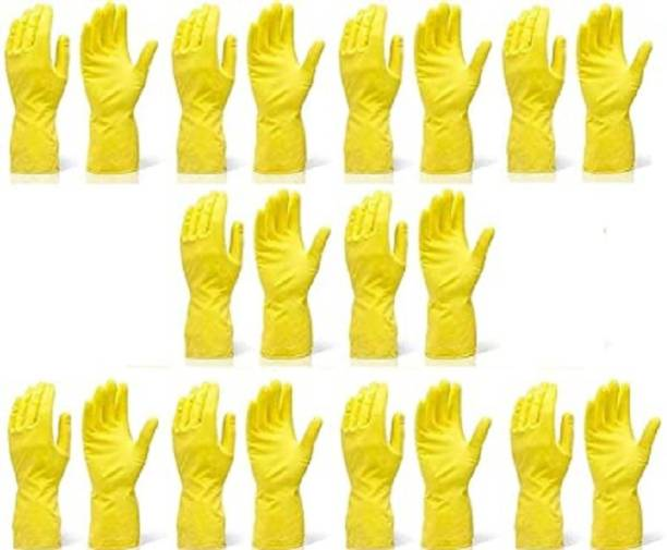Seebuy Reusable Rubber Hand Gloves for Washing, Cleaning Kitchen and Garden (Ivory) Pack Of 10 Pair In 20 Pices Gloves Gardening Shoulder Glove