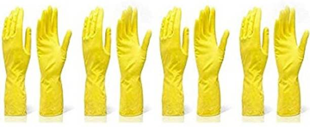 Seebuy Reusable Rubber Hand Gloves for Washing, Cleaning Kitchen and Garden (Ivory) Pack Of 4 Pair In 8 Pices Gloves Gardening Shoulder Glove