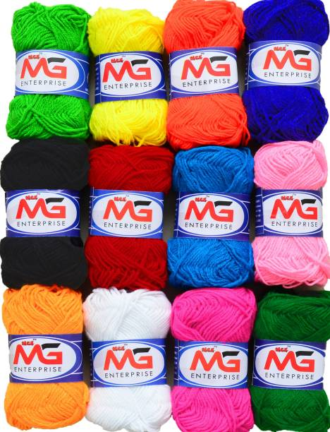 M.G Enterprise Wool Combo 1 (12 pc) M.G Wool Ball Hand Knitting Wool/Art Craft Fingering Crochet Hook Yarn, Needle Knitting Yarn Thread Dyed