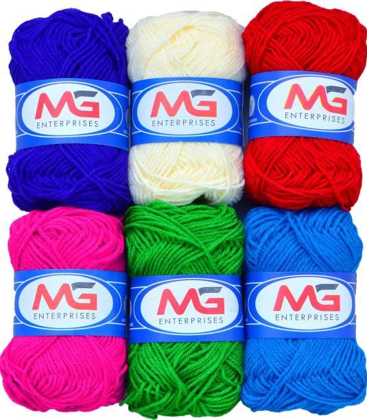 M.G Enterprise Wool Combo 3 (6 pc) M.G Wool Ball Hand Knitting Wool/Art Craft Fingering Crochet Hook Yarn, Needle Knitting Yarn Thread Dyed