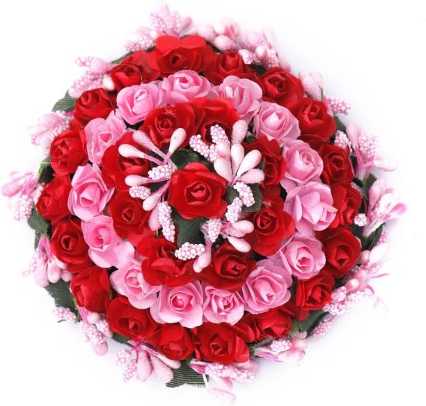 Shivarth Pink Red Color Bun Juda Maker Flower Gajra Hair Accessories For Women and Girls Bun