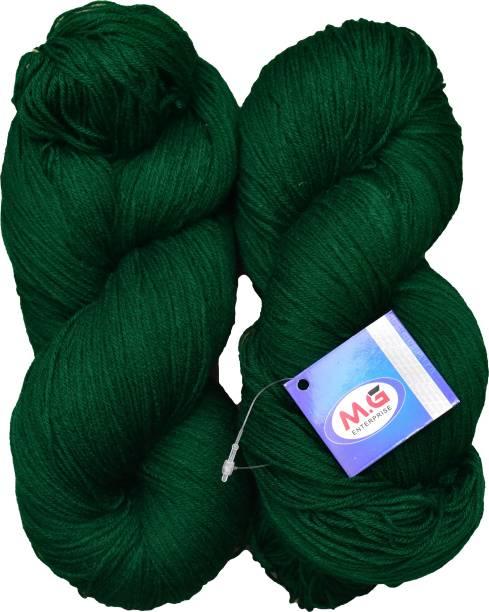 M. G ENTERPRISE Knitting Yarn 3 ply Wool, Leaf Green 200 gm Best Used with Knitting Needles, Crochet Needles Wool Yarn for Knitting.