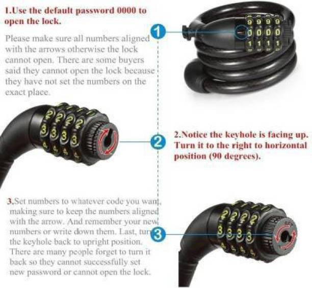 Afpin Heavy 4-Digit Changeable Number Lock for Bikes, Helmets (with Mounting Bracket) Cycle Lock