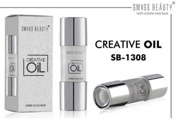 SWISS BEAUTY Creative Oil Sheer Gold Base, Face Makeup, White ,15 ml Primer  - 15 ml