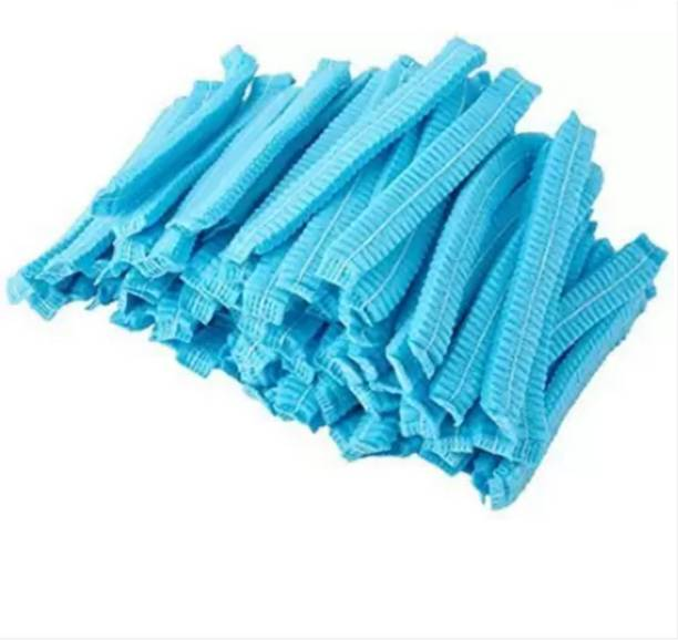 NHR Disposable Stretchable Blue Caps, Cover Hair For Cooking & Hygiene Surgical Head Cap (Disposable) PACK OF 100 Surgical Head Cap