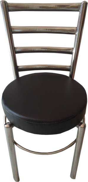 RAJCHEIF Restaurant Stool Chair, Stool for Kitchen, Stool for Balcony, Stool for Sitting in(SS Steel)1.25inch Pipe, PU Round sheat, Back Capsule Pipe, Heavy Duty,Set of-1Piece Metal Dining Chair