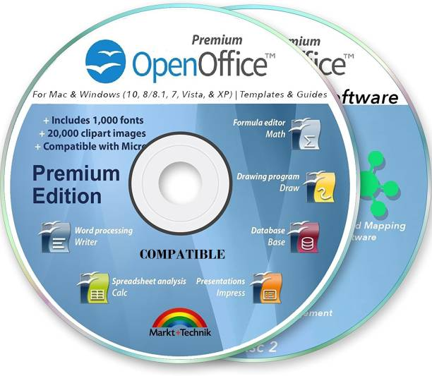 Compatible Office Suite 2019 Professional for MS Windows PC & Mac Home Student Business Software Compatibles with Microsoft Word Excel Disk 2 DVD Set by OpenOffice