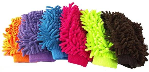 GTC Microfiber Multipurpose Washing and Cleaning Gloves Multi Color Dry Glove Set