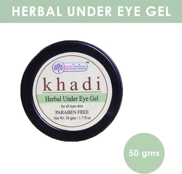 Khadi Rishikesh Herbal Natural Under Eye Gel,brightens the eye area & overall eye appearance immediately reduces the appearace on dark circle & puffness (50gm)