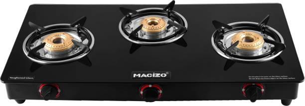 MACIZO Preto Plus 3 Burner ISI certified Glass Manual Gas Stove