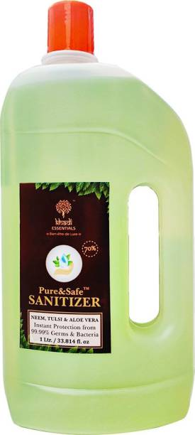 Khadi Essentials Pure&Safe Sanitizer 1 Litre Instant  Liquid 70% Ethyl Alcohol, Neem, Tulsi & Aloe Vera Extracts with Glycerine Hand Sanitizer Can