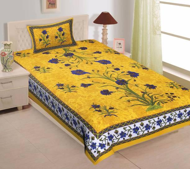 UNIBLISS 151 TC Cotton Single Floral Bedsheet