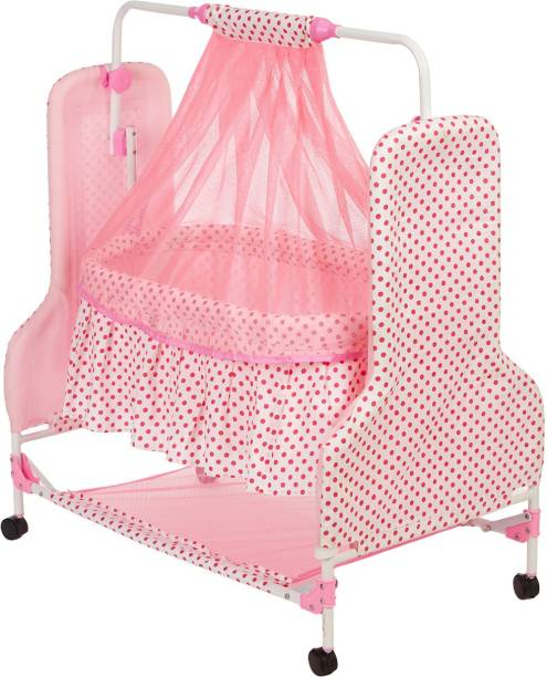 NHR New Born Baby Swing Baby Cradle Baby Crib Baby Jhula with Mattress Pillow Adjustable Height and Mosquito Net
