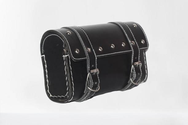 DRAMATIC INTERORS One-side Black Genuine Leather Motorbike Saddlebag