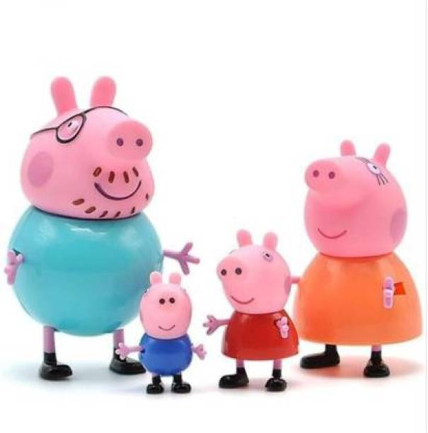 IDREAM Cute Mini Pig Family Figurines- Action Figure Toy- (4 pcs/Set)