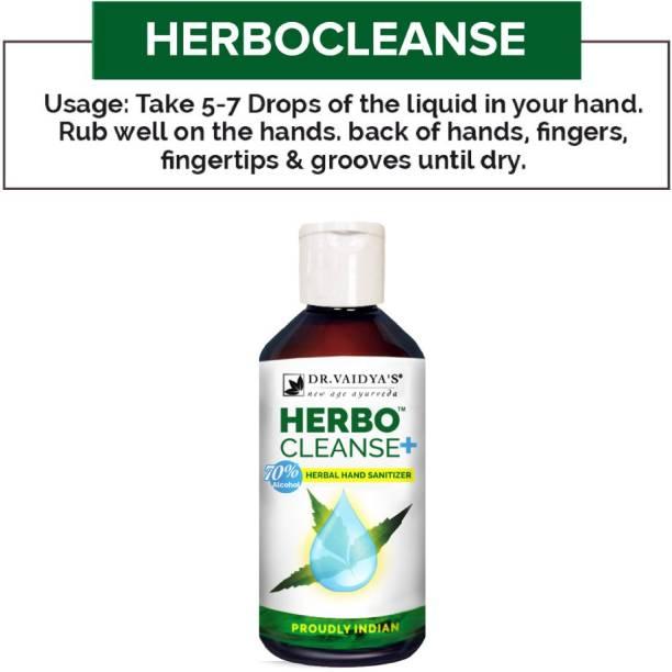 Dr. Vaidya's Herbocleanse Plus - Ayurvedic Liquid Hand Sanitizer with Aloe Vera, Neem and Tulsi - Pack of 3