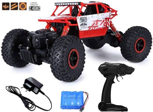 Miss & Chief Rock Crawler All-wheel-drive RC Car with light - Included battery and charger Red (Red)