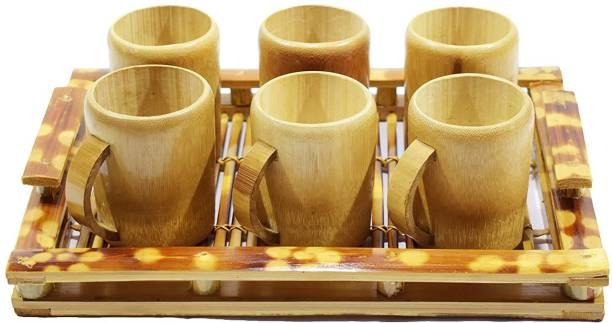 Bengal Handicrafts & Handlooms Natural Golden Bamboo Tea/Coffee Cup Set Coffee Cup 6 Nos and 1 Bamboo Tray Cup, Tray Serving Set