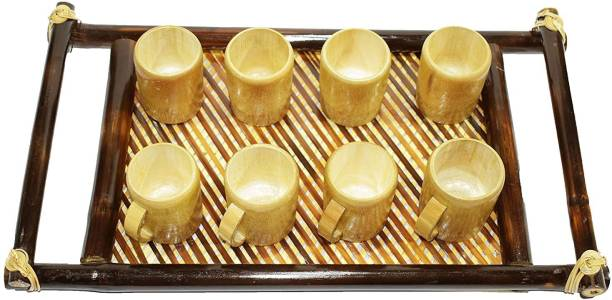 Bengal Handicrafts and Handlooms Stylish Handcrafted Natural Golden Bamboo Tea/Coffee Cup Set. Coffee Cup 8 Nos and 1 Bamboo Tray. Cup, Tray Serving Set