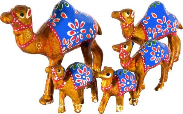 DreamKraft HandCrafted Set of 5 Showpiece Camel Set For Home Decoration Decorative Showpiece  -  13 cm