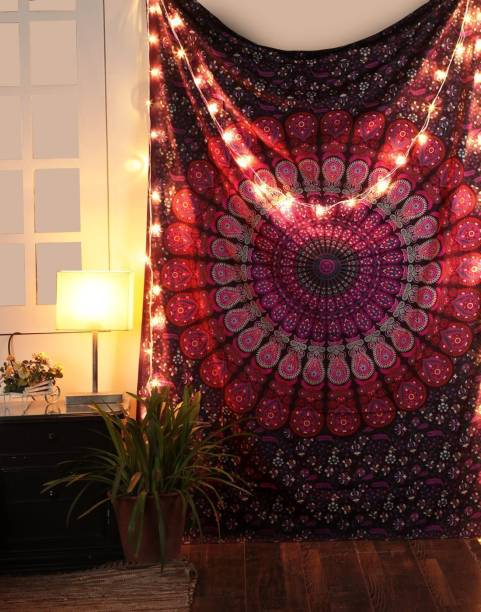 CRAZECULTURE Mandala Bohemian Hippie Decoration Tapestry Bedsheet Bedcover Picnic Outdoor Mat Cotton Printed Wall Hanging Tapestry