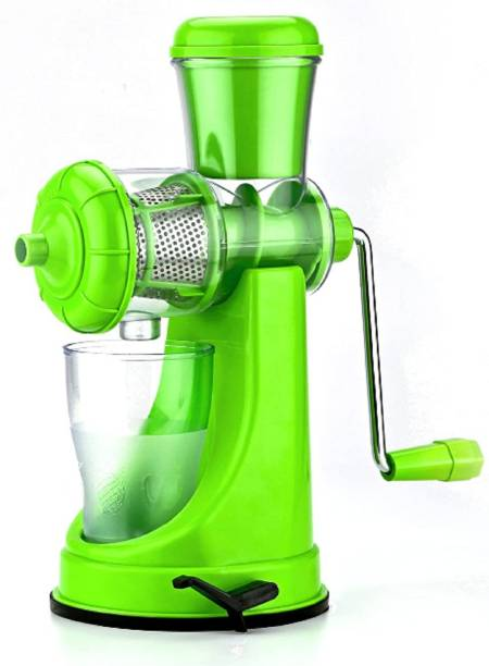 MYYNTI Plastic Hand Juicer Fruits & Vegetable Juicer with Waste Collector Green