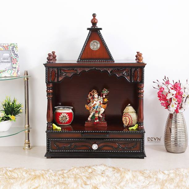 DZYN FURNITURES Divya Prakostha Wooden Temple Solid Wood Home Temple