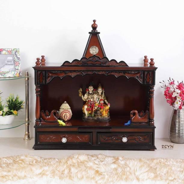 DZYN FURNITURES SukhatMan Large Wooden Temple Pooja Mandir Solid Wood Home Temple