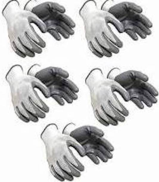 Tools Centre MEDIUM SIZE SHOCKPRROF NYLON RUBBER CUT RESISTANCE SAFETY HAND GLOVES ( 5 PAIR ) Non-magnetic Engineer's Precision Level