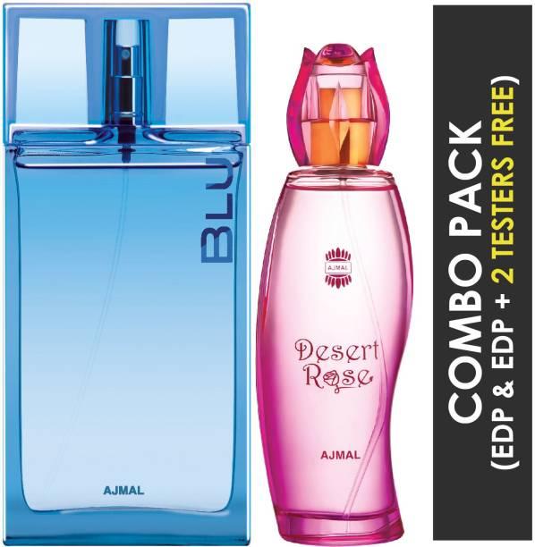 Ajmal Blu EDP Aquatic Woody Perfume 90ml for Men and Desert Rose EDP Floral Oriental Perfume 100ml for Women + 2 Parfum Testers FREE Eau de Parfum  -  190 ml