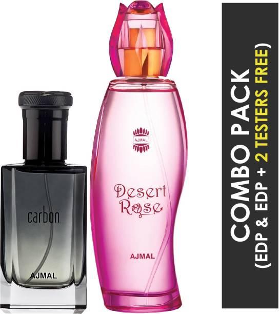 Ajmal Carbon EDP Citrus Spicy Perfume 100ml for Men and Desert Rose EDP Floral Oriental Perfume 100ml for Women + 2 Parfum Testers FREE Eau de Parfum  -  200 ml
