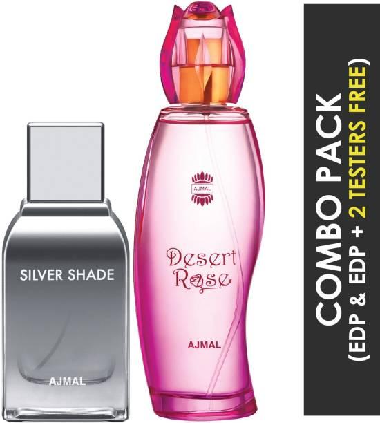 Ajmal Silver Shade EDP Citrus Woody Perfume 100ml for Men and Desert Rose EDP Floral Oriental Perfume 100ml for Women + 2 Parfum Testers FREE Eau de Parfum  -  200 ml