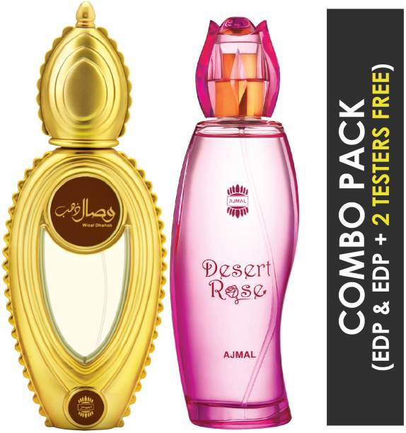 Ajmal Wisal Dhahab EDP Fruity Floral Perfume 50ml for Men and Desert Rose EDP Floral Oriental Perfume 100ml for Women + 2 Parfum Testers FREE Eau de Parfum  -  150 ml