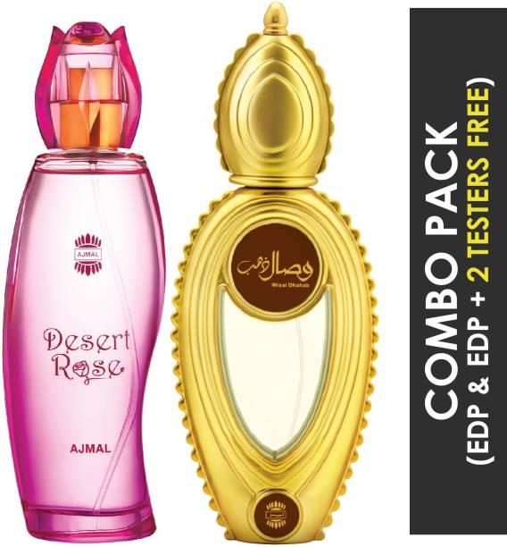 Ajmal Desert Rose EDP Floral Oriental Perfume 100ml for Women and Wisal Dhahab EDP Fruity Floral Perfume 50ml for Men + 2 Parfum Testers FREE Eau de Parfum  -  150 ml