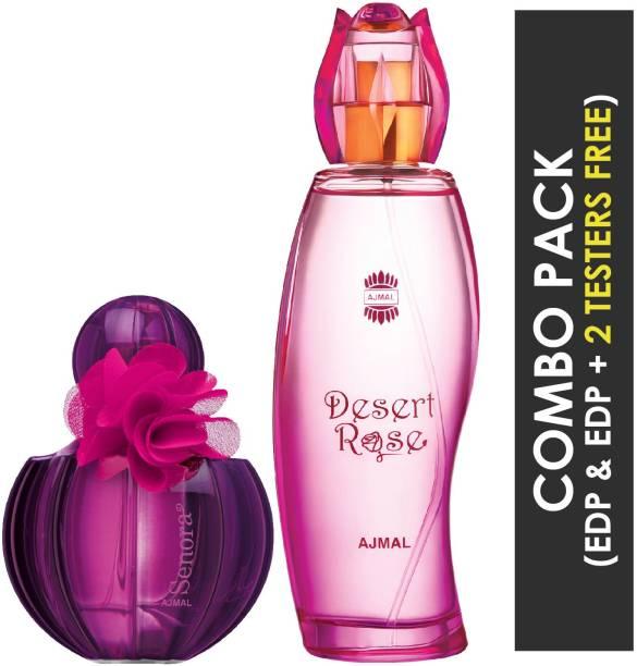 Ajmal Senora EDP Floral Spicy Perfume 75ml for Women and Desert Rose EDP Floral Oriental Perfume 100ml for Women + 2 Parfum Testers FREE Eau de Parfum  -  175 ml